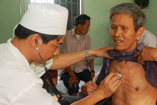 How is the chest examination done?